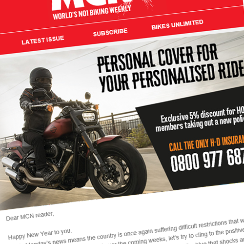 Email marketing campaign for Harley Insurance