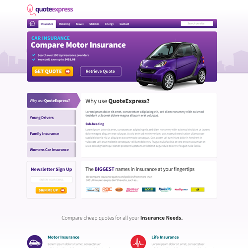 Internal page for an insurance comparison website