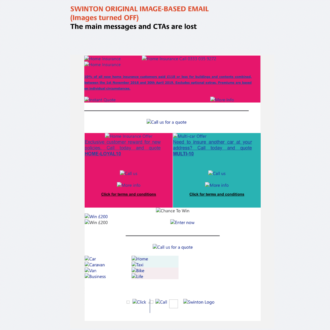 Original spliced up version of the under-performing HTML emails